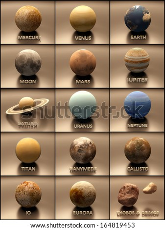 An artistic stylized Image of the Planets and some Moons of our Solar System with captions. - stock photo