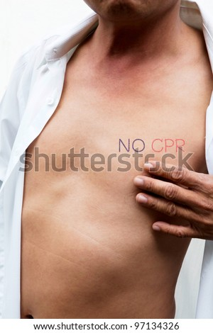 an asian male body with NO CPR (Cardiopulmonary resuscitation) on left chest means do not give artificial respiration - stock photo