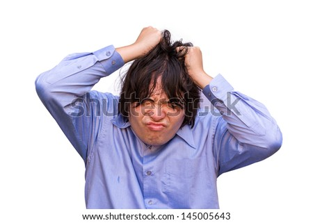 An Asian office guy is stressing to his limit in white background - stock photo
