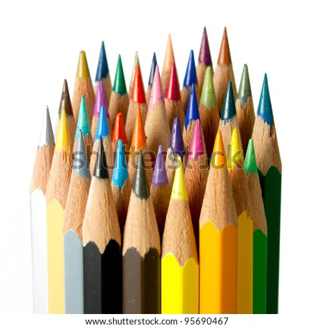 An assortment of color pencils on white background - stock photo