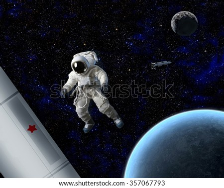 An astronaut floating in space near planet and ship.   - stock photo