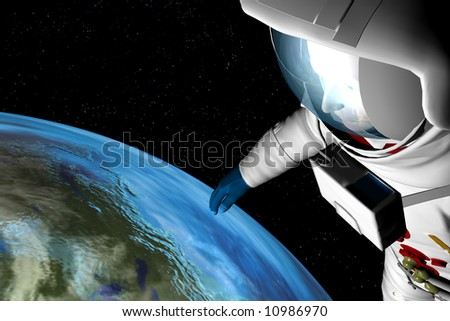 An atsronaut gazes down at the earth from high above the atmosphere in space - stock photo