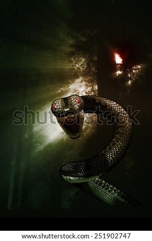 An attack from a snake in a dark mysterious forest. - stock photo