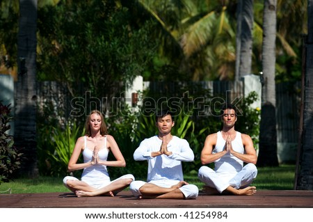 An attractive group of people practicing yoga outdoors - stock photo
