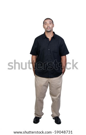 An attractive handsome African American man standing - stock photo