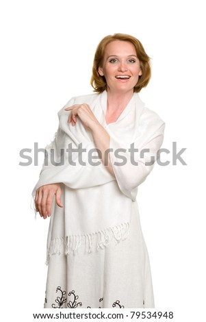 An attractive middle-aged woman in a summer dress. - stock photo
