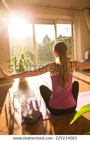 An attractive woman doing fitness - stock photo