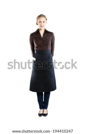An attractive young waitress with a white background  - stock photo