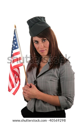 an attractive young woman smiles as she holds her american flag, isolated on white, with room for your text - stock photo