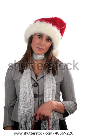 an attractive young woman wears a santa hat and goes shopping, isolated on white - stock photo