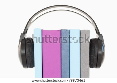 An audio book concept against a white background - stock photo