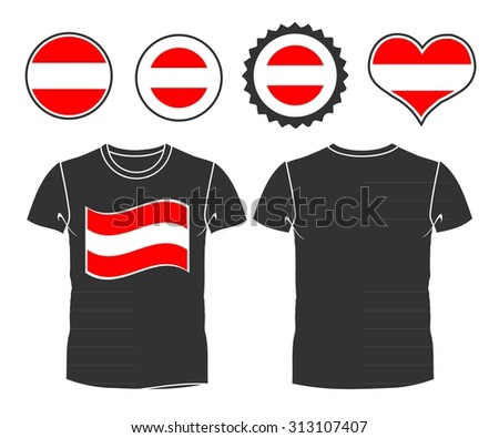 An Austrian businessman rips open his shirt and shows how patriotic he is by revealing his countries flag beneath printed on a t-shirt. Raster version - stock photo