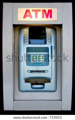 An automated teller machine is ready to provide cash. - stock photo