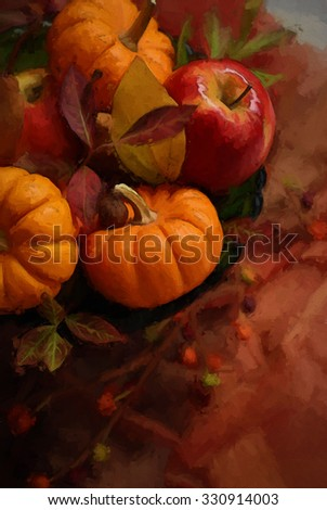An autumn centerpiece with pumpkins, apples, and leaves turned into a colorful harvest painting - stock photo