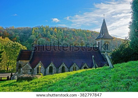 An Autumn view of Christ Church in Chalford, Gloucestershire, England, UK - stock photo