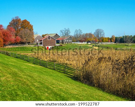 An Autumn view of historic Longstreet Farm in Holmdel Park in New Jersey. - stock photo