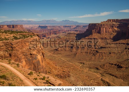 An awe-inspiring view of one of the vast vistas of Canyonlands National Park - stock photo