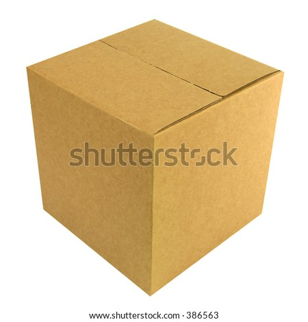 An closed cardboard box with workpath - stock photo