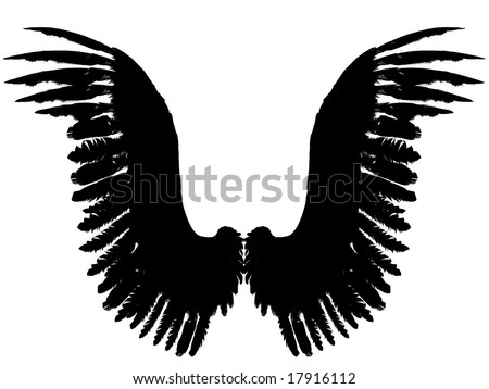 An 3D rendered angel wings silhouette on white background. Front view. - stock photo