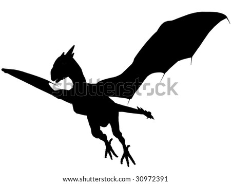 An 3D rendered dragon silhouette with unfolded wings on white background. - stock photo