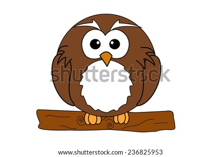 An depicting a cute owl sitting on a branch. - stock photo