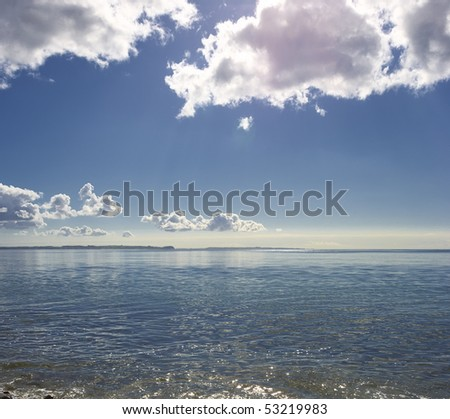 An early morning photo of  the ocean - stock photo