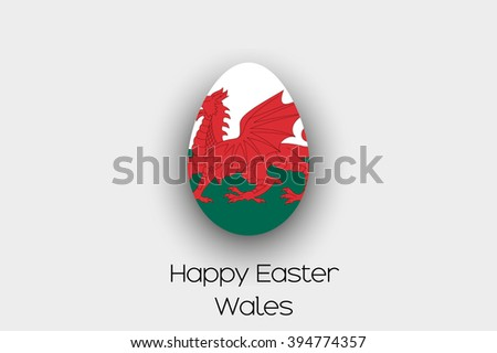 An Easter Egg  Flag Illustration of the country of Wales - stock photo