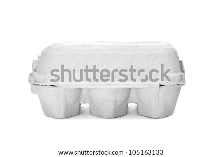an egg carton on a white background - stock photo