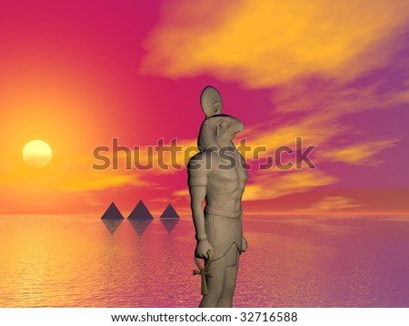 An Egyptian illustration concept of global warming on earth - stock photo