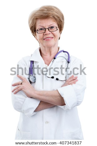 An elder Caucasian female doctor with clasped arms looking friendly at camera, isolated on white background - stock photo