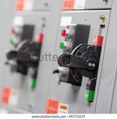 An electrical switch in an industrial application - stock photo
