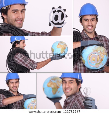 an electrician, a globe and an sign - stock photo
