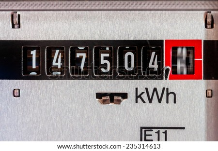 an electricity meter measures the electricity consumed. save symbolic photo for current price and current - stock photo