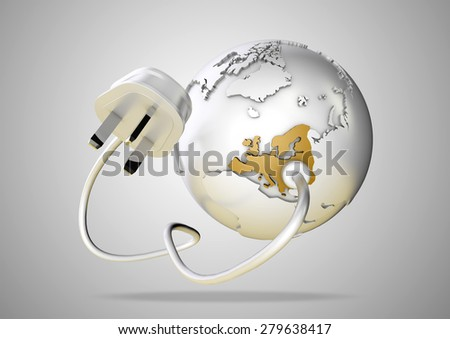 An electricity wire and plug connects to Europe on world globe. Concept for how users in Europe use and rely on energy, power and electricity. - stock photo