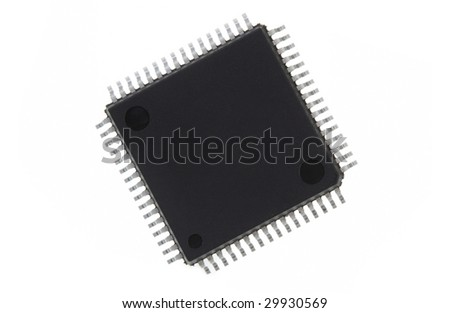 An electronic processor, isolated on a white background. Space for copy on surface. - stock photo