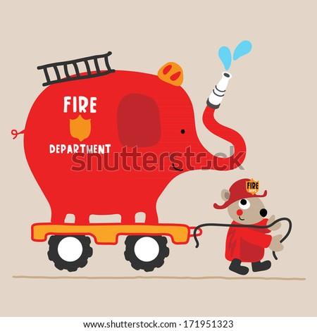 An Elephant firetruck with a cute animal - stock photo