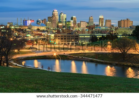 An elevated view of an early morning in Kansas City, Missouri in the fall time. - stock photo