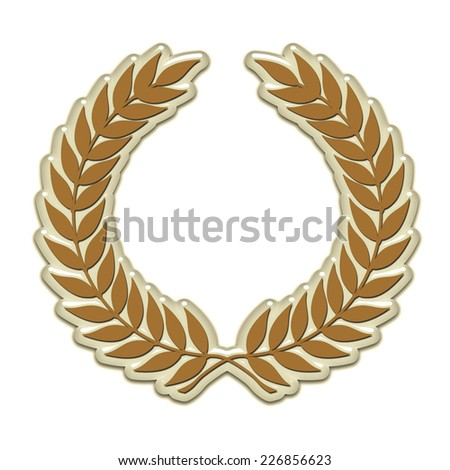 An embossed laurel wreath symbol in gold - stock photo