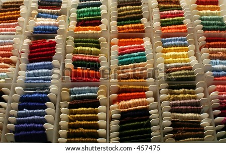 An embroidery floss sorting box. - stock photo