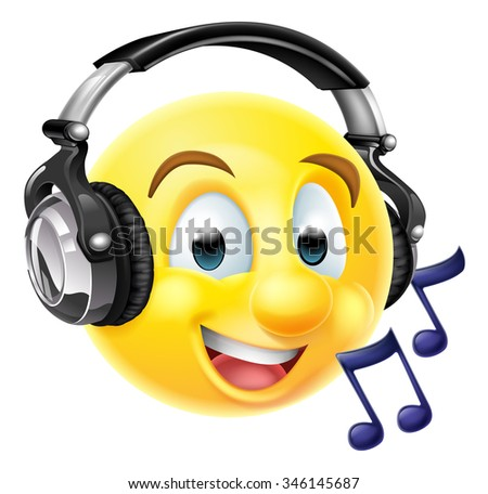 An emoticon emoji wearing headphones and listening to music or singing along.  With musical notes - stock photo