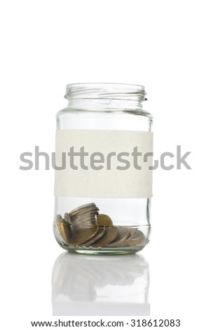 An empt text label on quarter coins of jar isolated on white background - saving, donation, financial, future investment and insurance concept - stock photo