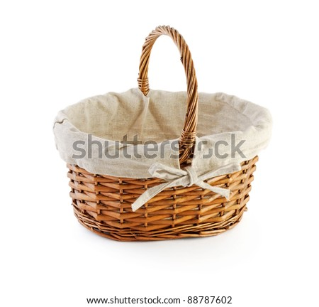 an empty basket (upright) isolated on white - stock photo