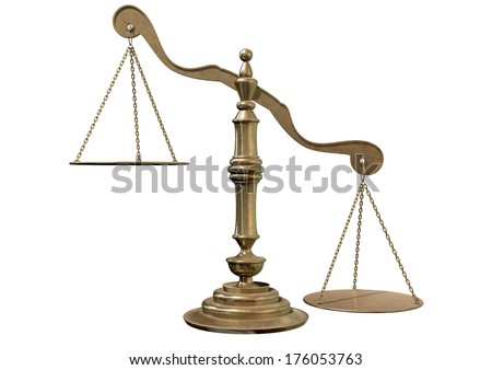An empty bronze justice scale with one side outweighing the the other on an isolated background - stock photo