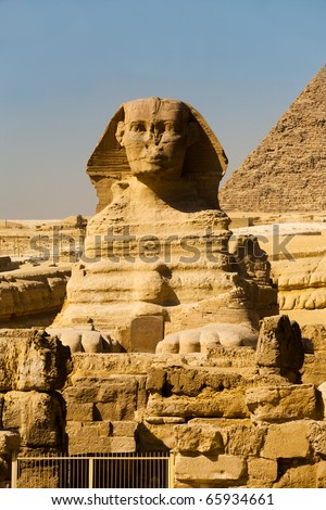 An empty Great Sphinx is seen head-on at the Giza Pyramids in Cairo, Egypt - stock photo