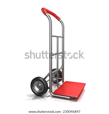 An empty hand truck, isolated on white background. 3D render illustration. Standing position, side view - stock photo