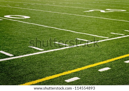 An empty high school football field - stock photo