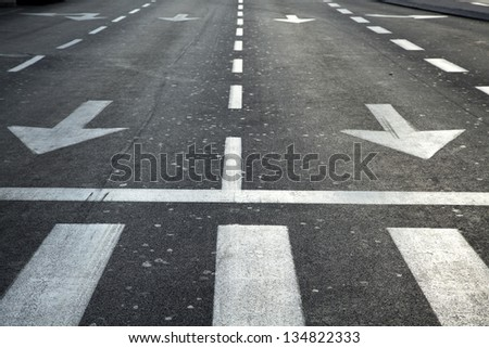 An empty main street in Tel Aviv at the early hours of the morning. Tilted angle. - stock photo