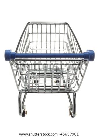 An empty miniature shopping cart viewed head-on - stock photo