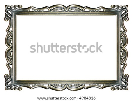 an empty ornate silver picture frame - stock photo