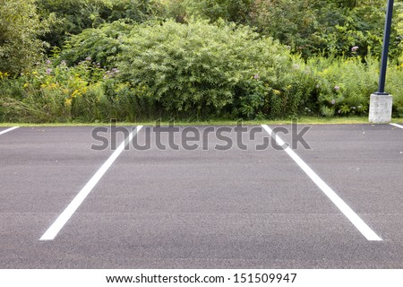 An empty parking spot with vegetation and shrubbery. - stock photo
